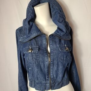 MaxCocus cropped roll neck jean jacket
